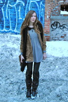 black over the knee Rouge boots - white Forever21 dress - camel parka Wholesale-