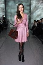 pink silk TwichVintage dress - brick red 70s vintage bag - black Jessica Simpson