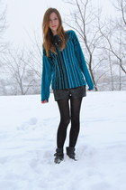 black Steve Madden boots - teal striped vintage sweater - black faux leather For