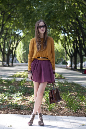 maroon Love dress - mustard H&amp;M sweater - olive green lace-up Payless heels