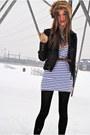 White-h-m-dress-black-twik-jacket-camel-vintage-gloves-brown-vintage-belt-