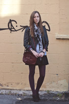 brick red H&M stockings - black leather twik jacket - brick red vintage bag