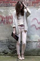 light pink H&M pants - silver H&M cardigan - beige Jacob blouse