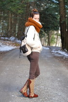 ivory material girl bag - bronze riding Hush Puppies boots