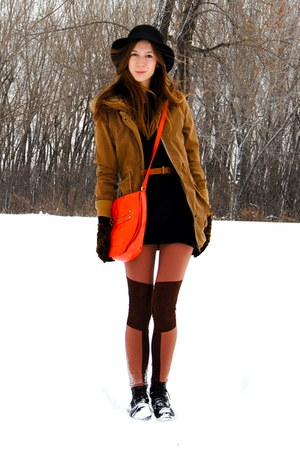 bronze parka Wholesale-Dress coat - burnt orange knee patches H&amp;M leggings - car