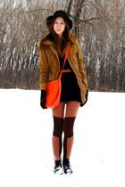 bronze parka Wholesale-Dress coat - burnt orange knee patches H&M leggings - car