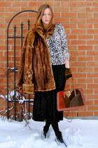 black maxi Forever21 dress - tawny fur vintage coat - beige leopard print H&M sw