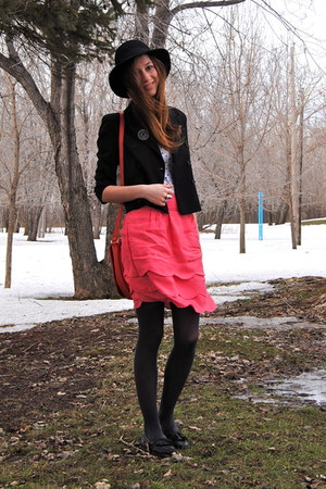 black vintage blazer - carrot orange H&M bag - hot pink Forever21 skirt