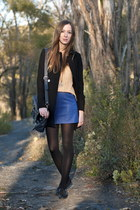 blue leather Forever21 skirt - black H&M coat - gold vintage top