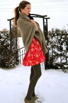 red flower Forever 21 dress - light brown cape