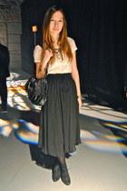 white lace Forever21 shirt - black leather BCBG bag - black sheer Wholesale-Dres