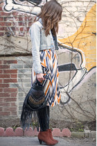 carrot orange tribal Sugarlips skirt - ruby red H&M boots - black Billabong bag