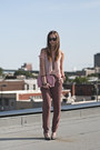 Light-brown-gap-pants-pink-sheer-american-apparel-top-heather-gray-h-m-heels
