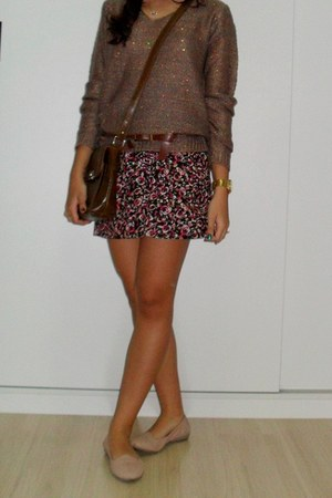 unknown coat - gold Swatch watch - floral unknown skirt
