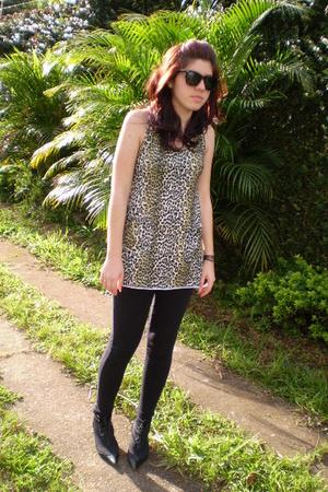 beige blouse - white blouse - black boots - black leggings - black glasses