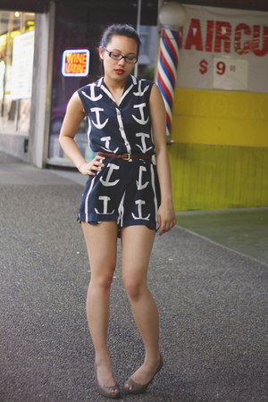 navy nautical thrifted vintage romper