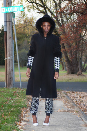 wool DKNY coat - Forever 21 pants - Sheinside jumper