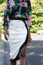 Floral-print-h-m-blouse-midi-boohoo-skirt-checkered-qupid-heels