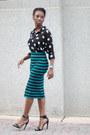 Stripe-forever-21-skirt-polka-dot-forever-21-blouse-gojane-sandals