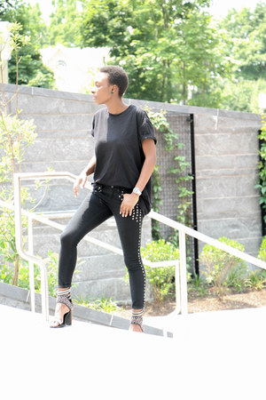 studded Forever 21 jeans - lakota Jeffrey Campbell heels