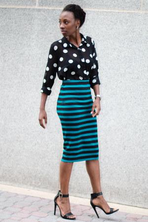 polka dot Forever 21 blouse - stripe Forever 21 skirt - GoJane sandals
