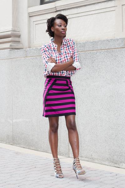 Marc by Marc Jacobs skirt - gingham Forever 21 shirt - Zara heels