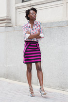 Marc by Marc Jacobs skirt - gingham Forever 21 shirt - Zara heels