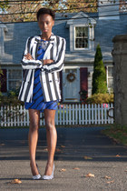 striped Zara blazer - Newlook dress - checkered Qupid pumps - Windsore necklace