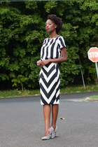 chevron Mr Price skirt - stripped boxy Mr Price top - Qupid pumps