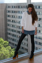 ecote pumps - BDG jeans - benetton jumper - denim shirt Levis blouse