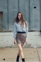 pink pencil H&M skirt - black vintage boots - blue striped Guess shirt