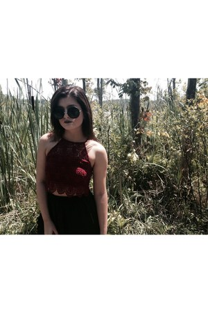 black round black Target sunglasses - brick red crop top top