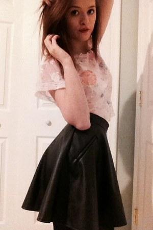 light pink victoria secret top - black TJ Maxx skirt