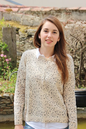 sky blue La Redoute jeans - ivory Mango sweater - white La Redoute shirt