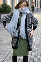 green wool handmade dress - silver H&M scarf - black wool handmade cardigan
