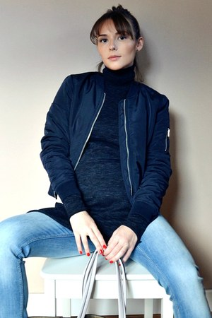 sky blue H&M jeans - navy bomber Stradivarius jacket - roll neck Zara sweater