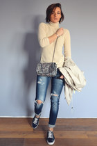 Primark jacket - navy destroyed Stradivarius jeans - light purple tweed Zara bag
