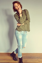army green Zara shirt - black Gamloong boots - light blue Zara jeans