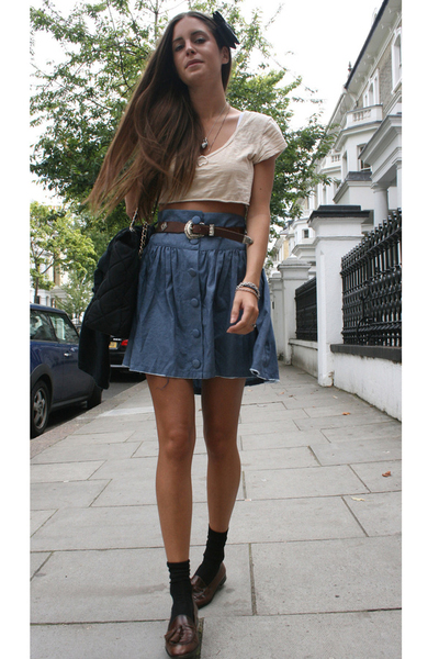 Primark skirt - cropped by me top - Rokit belt - Uterque shoes