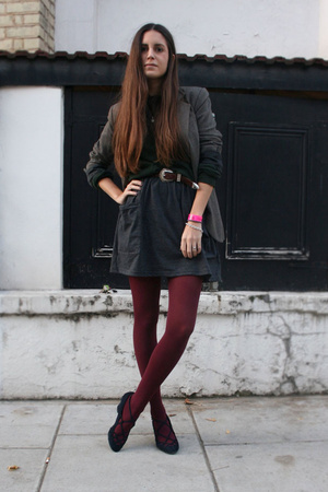 Tabio tights - Zara blazer - dior homme sweater - aa skirt - Marc Jacobs shoes