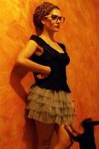 silver Terranova skirt - leopard print Ebay scarf - Accessorize sunglasses