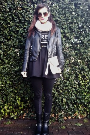 black leather Dunnes boots - black leather Zara jacket