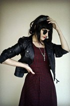 black leather Bershka jacket - crimson checkered New Yorker dress