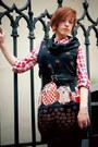 Black-owl-punkfish-dress-red-checkered-denimco-shirt
