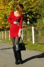 Red-open-back-george-dress-black-faux-leather-divideo-jacket