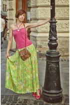 floral second hand skirt - new look bag - ballet flats second hand flats