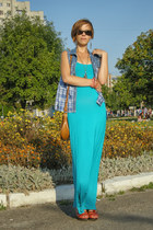 turquoise blue maxi Jane Norman dress - carrot orange next wedges