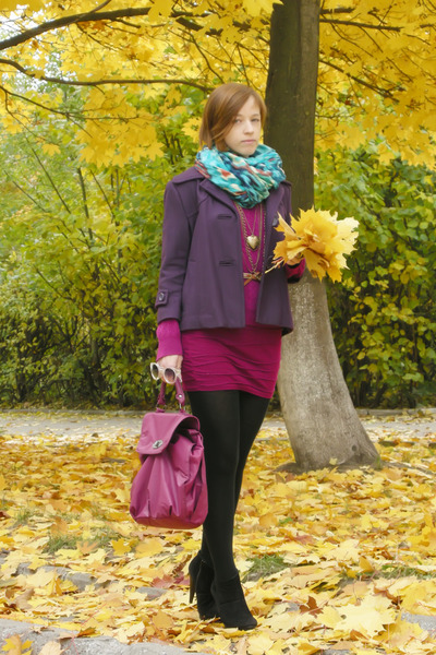 purple wool papaya coat - turquoise blue indian floral Peacocks scarf