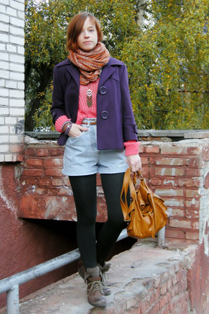 bubble gum jumper - brown faux fur Atmosphere boots - purple wool papaya coat