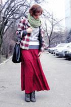 ruby red maxi boho Chloe skirt - brick red plaid hood E-Vie jacket